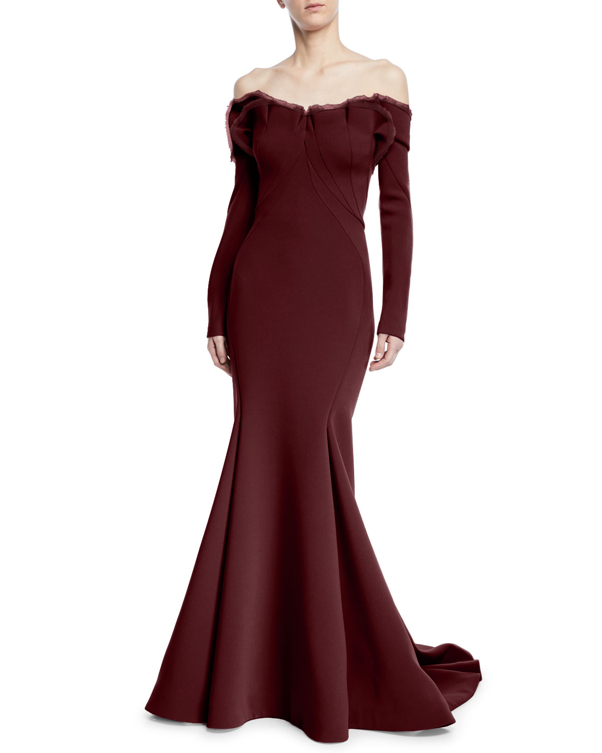 ZAC POSEN LONG-SLEEVE OFF-THE-SHOULDER GOWN W/ TRAIN