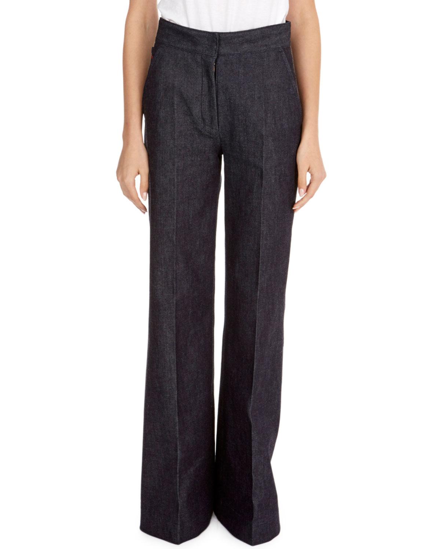 High-Waist Wide-Leg Dark Wash Denim Jeans