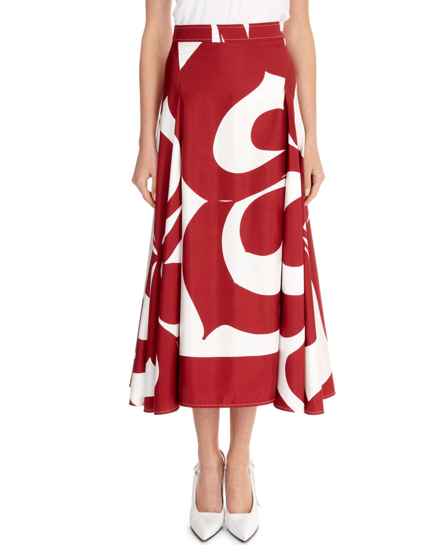 VICTORIA BECKHAM Graphic Floral Draped-Sides Silk Midi Skirt, Red/White