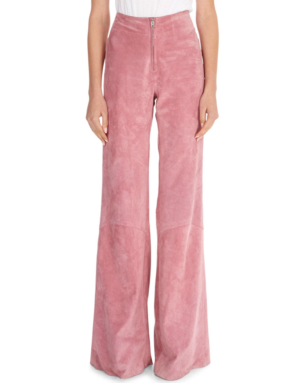 Paneled Suede Zip-Front Pants