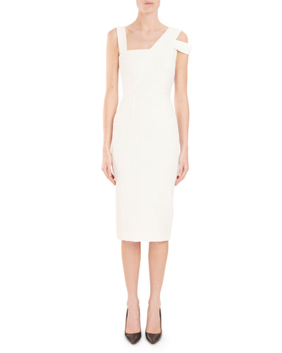 Asymmetric-Neck Sleeveless Fitted Midi Cocktail Dress