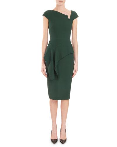 Asymmetric-Neck Cap-Sleeve Peplum Fitted Crepe Cocktail Dress