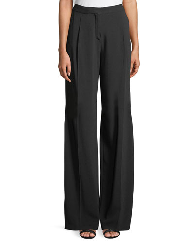Wide-Leg Crepe Tux Pants with Beaded Side