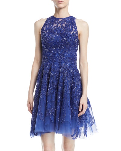 Sleeveless Beaded Tulle Cocktail Dress