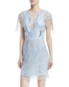 Fringe Beaded Straight Cocktail Dress