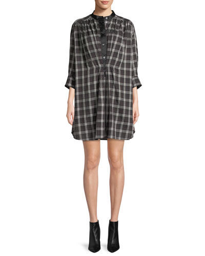 Long-Sleeve Button-Down Plaid Cotton Dress