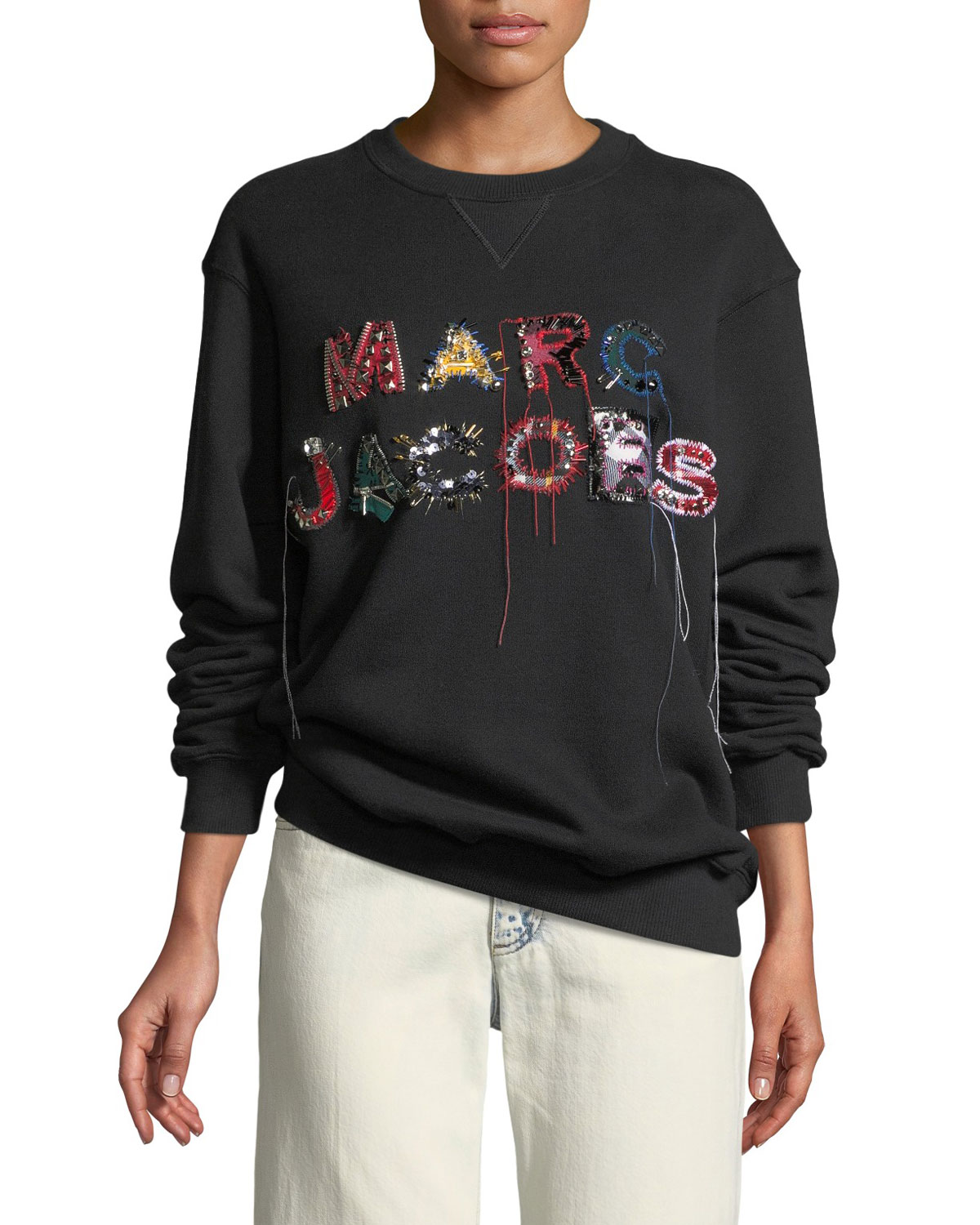 Black Cotton Logo Embroidered Crew Neck Sweatshirt from STYLEBOP.com
