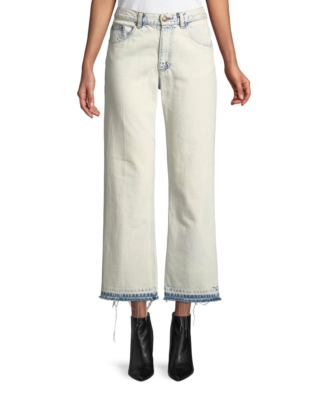 Wide-Leg Washed-Denim Cropped Jeans