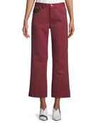 Wide-Leg Houndstooth Cropped Pants