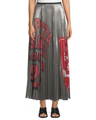 Pleated Metallic Graffiti-Print Long Skirt