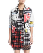 Mickey-Print Button-Down Denim Jacket