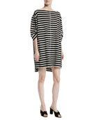 Bateau-Neck 3/4-Sleeves Breton Striped Cotton Dress