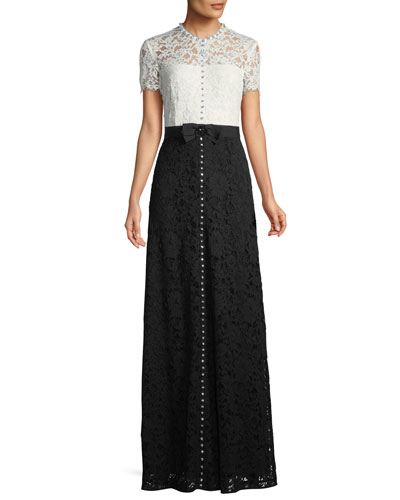 Short-Sleeve Lace Evening Gown w/ Crystal Detail & Grosgrain Belt