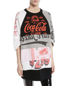 Crewneck Elbow-Sleeve Coca-Cola Takeout Colorblocked Sweatshirt Dress