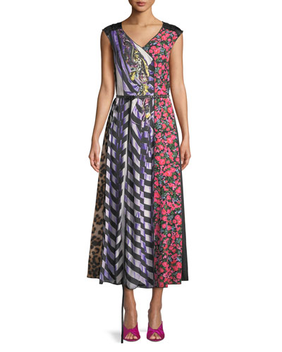 Sleeveless V-Neck Photographic Mixed-Print A-Line Dress