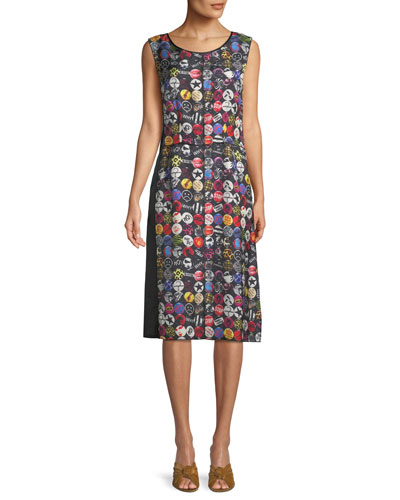 Sleeveless A-Line Badges-Print Dress