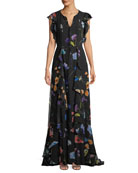 Floral-Print Ruffle A-Line Silk Evening Gown