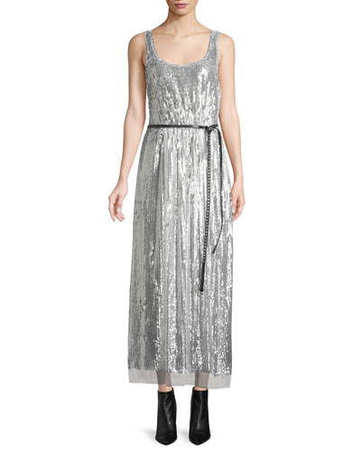 Scoop-Neck Sleeveless Mirrored-Sequins Belted Cocktail Dress