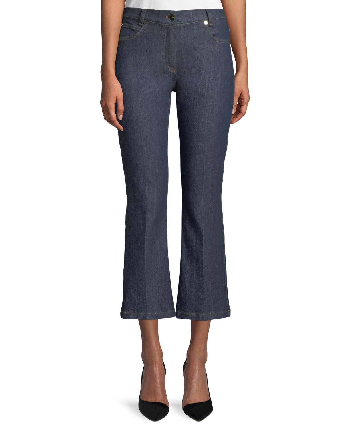 Flared-Leg Cropped Jeans