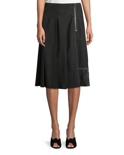 Pleated Side-Zip A-Line Wool Skirt