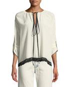 3/4-Sleeve Tie-Neck Silk Blouse w/ Lace Trim