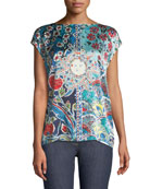 Sundial Floral-Print Cap-Sleeve Tee w/ Knit Back