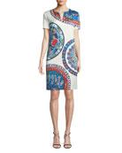 Short-Sleeve Pottery-Medallion Print Chemise Dress