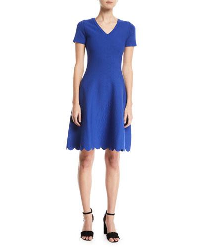 Short-Sleeve Fit-and-Flare Jacquard-Knit Dress w/ Scallop Hem