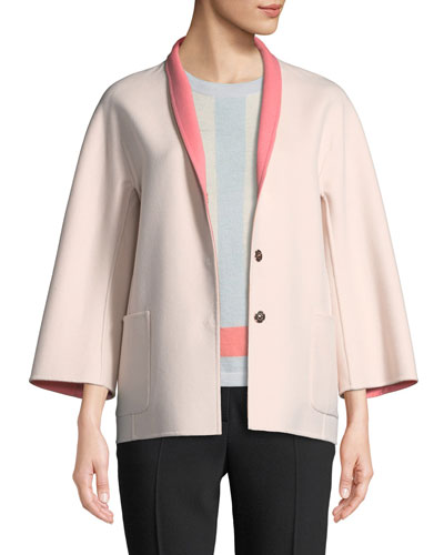 Snap-Front Long-Sleeve Reversible Wool-Cashmere Coat