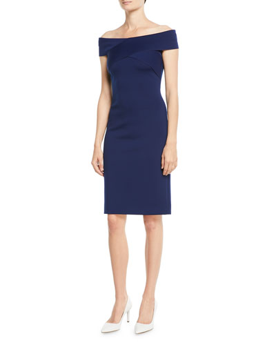 Austine Off-the-Shoulder Sheath Knee-Length Dress