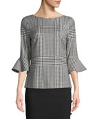 Houndstooth 3/4 Flounce Sleeve Wool-Blend Top