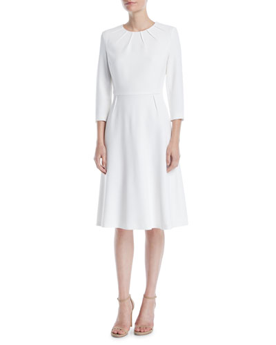 3/4-Sleeve Sun Pleat Neckline A-Line Dress