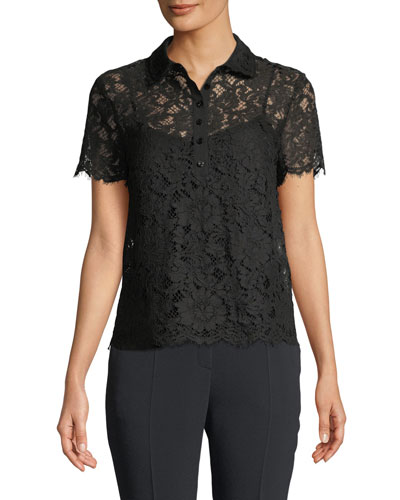 Short-Sleeve Lace Polo Top w/ Camisole