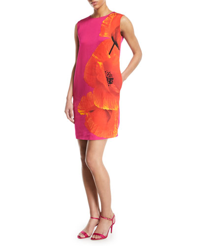 Sleeveless Orchid-Print Shift Dress