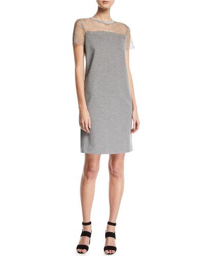 Short-Sleeve Jersey A-Line Dress w/ Lace Top