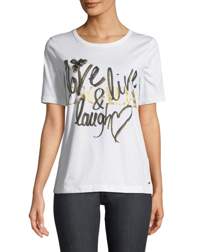 Love, Live, Laugh Crewneck Short-Sleeve Cotton Tee