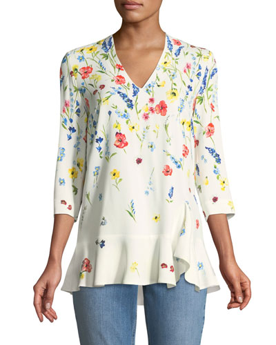 3/4-Sleeve V-Neck Floral-Print Top