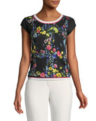 Floral Contrast-Trim Top