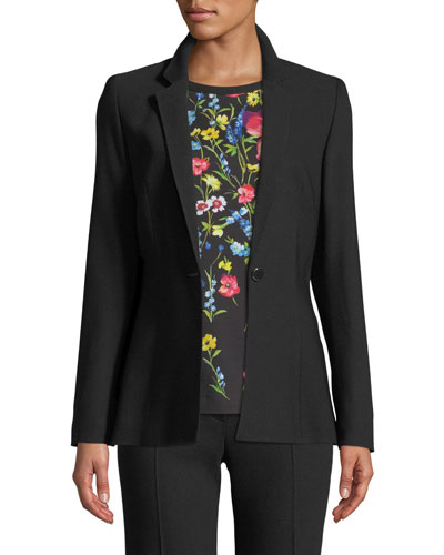 Notch-Collar One-Button Side-Slit Wool-Blend Jacket