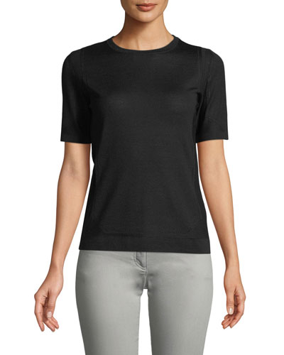 Crewneck Short-Sleeve Pullover Pointelle Top