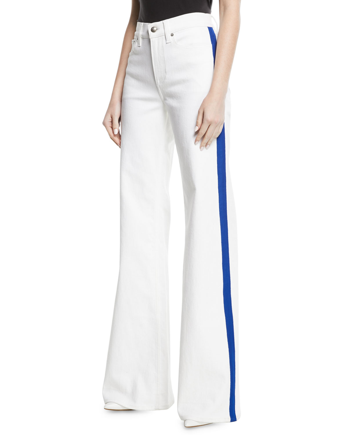 143 High-Rise Wide-Leg Jeans with Contrast Side Stripe