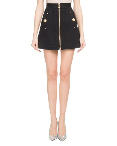 A-Line Zip-Front Cotton Canvas Skirt with Side Pockets