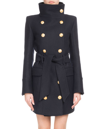 69c7be59697 Quick Look. Balmain · Funnel-Collar Double-Breasted Belted Wool-Cashmere  Coat. Available in Black