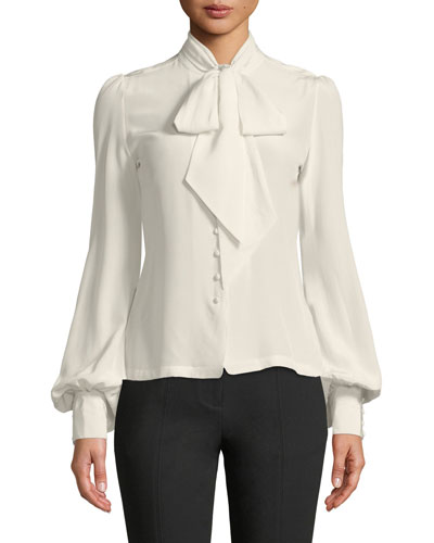 Tie-Neck Poet-Sleeve Button-Front Silk Crepe Blouse