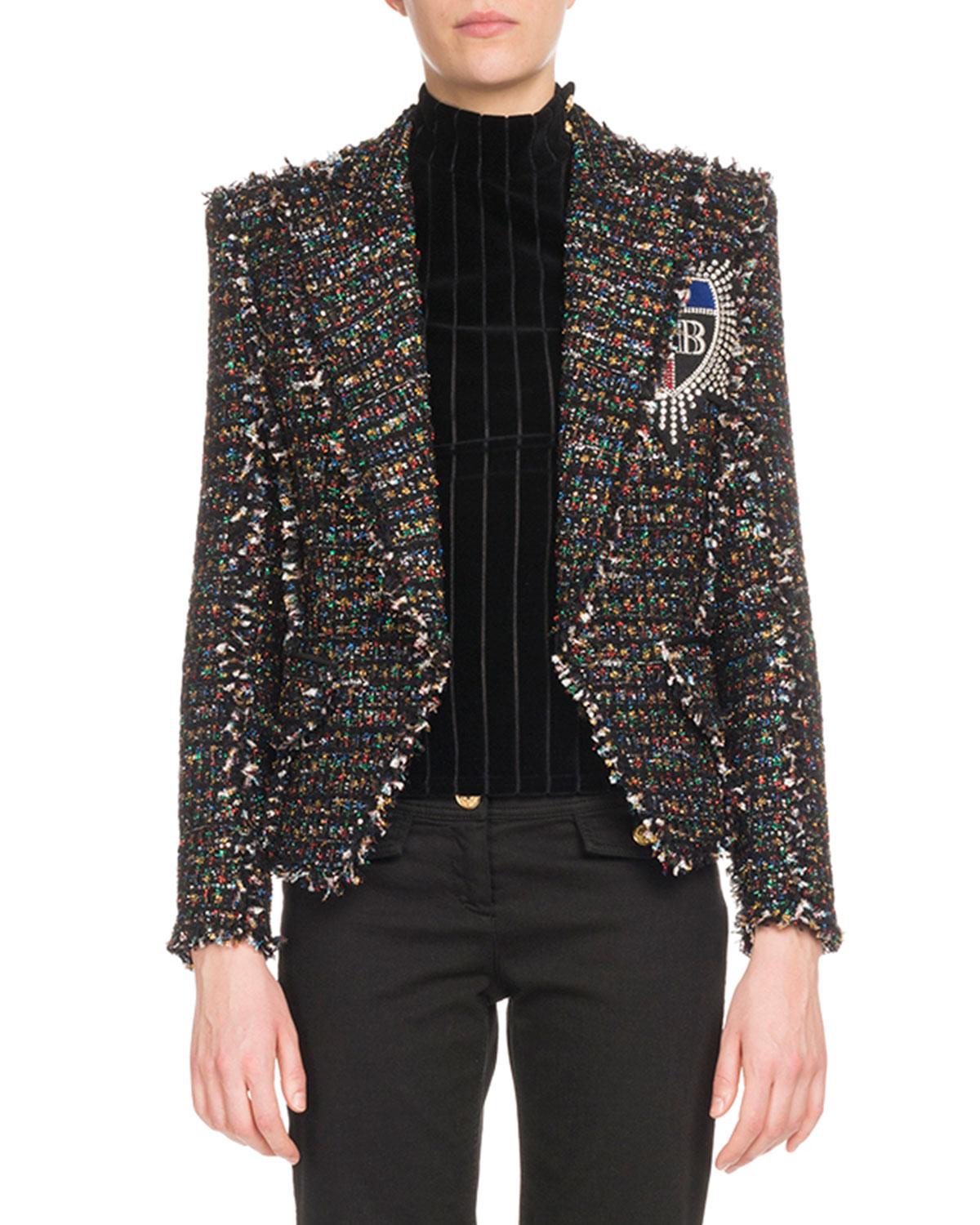 Tweed Jacket With Metallic Thread And Embellished Patch, Black Pattern