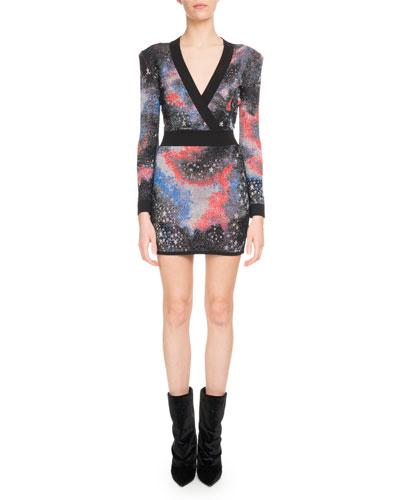 Long-Sleeve Deep-V Constellation-Print Mini Cocktail Dress