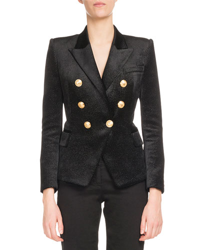 Six-Button Double-Breasted Glitter-Dot Jacket