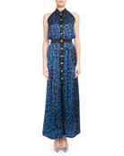 Sleeveless Button-Front Leopard-Print Silk Jersey Maxi Dress
