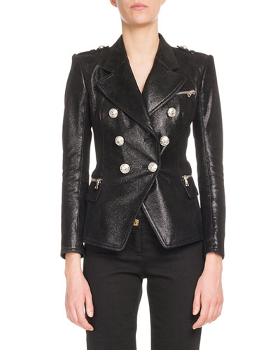 Six-Button Classic Leather Jacket
