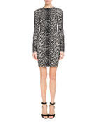 Long-Sleeve Leopard-Jacquard Body-Con Dress